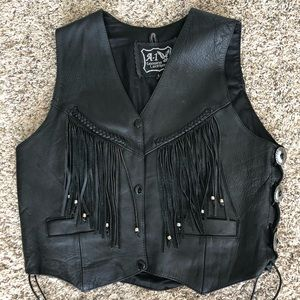 A-1 Genuine Leather Western tassel button vest L